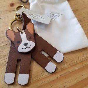 French bulldog keychain -Fossil-NWT